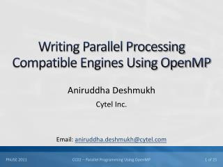 Writing Parallel Processing Compatible Engines Using OpenMP