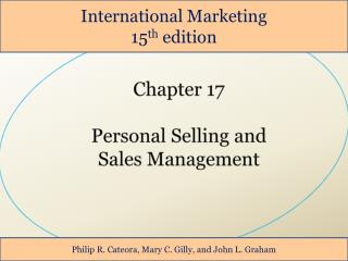 Chapter 17 Personal Selling and  Sales Management