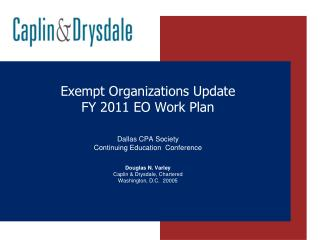 Exempt Organizations Update FY 2011 EO Work Plan