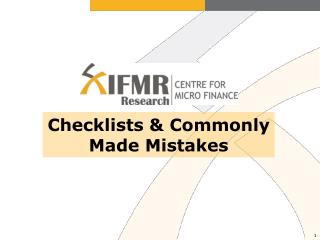 Checklists & Commonly Made Mistakes