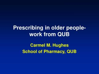 Prescribing in older people-work from QUB