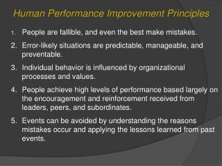 Human Performance Improvement  Principles