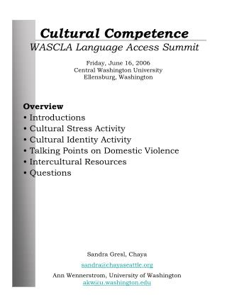 Cultural Competence WASCLA Language Access Summit