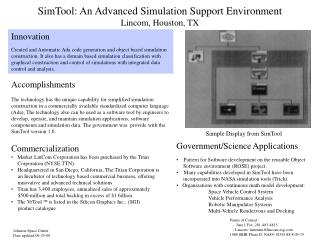 SimTool: An Advanced Simulation Support Environment Lincom, Houston, TX