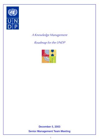 A Knowledge Management  Roadmap for the UNDP