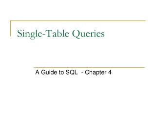 Single-Table Queries