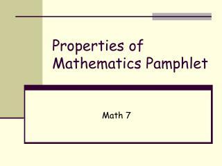 Properties of Mathematics Pamphlet