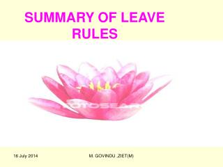 SUMMARY OF LEAVE RULES