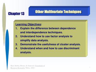 Other Multivariate Techniques