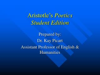 Aristotle's Poetics Student Edition