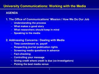 University Communications: Working with the Media