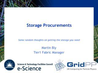 Storage Procurements