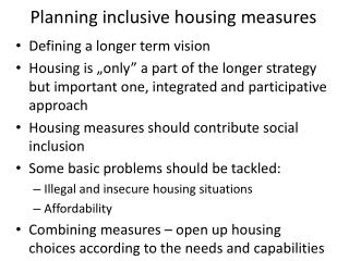 Planning inclusive housing measures