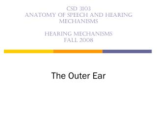 CSD 3103 anatomy of speech and hearing mechanisms  Hearing mechanisms Fall 2008