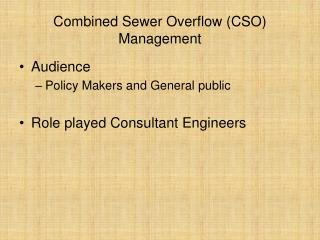 Combined Sewer Overflow (CSO) Management