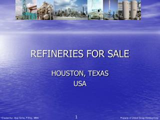 REFINERIES FOR SALE