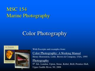 MSC 154 Marine Photography