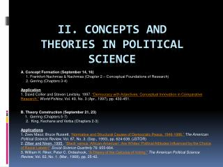 II. Concepts and Theories in Political Science