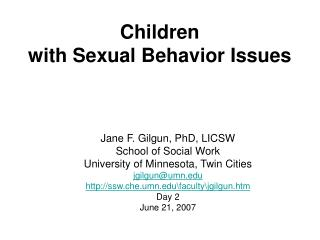 Children with Sexual Behavior Issues