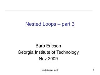 Nested Loops – part 3