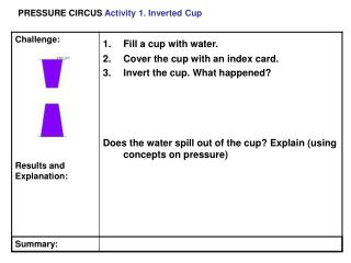 PRESSURE CIRCUS  Activity 1. Inverted Cup