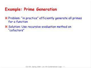 Example: Prime Generation