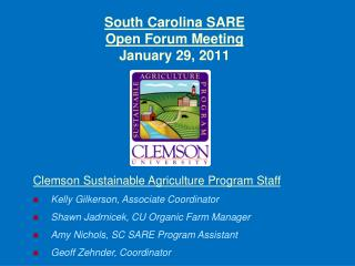 South Carolina SARE Open Forum Meeting January 29, 2011