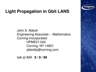 Light Propagation in Gbit LANS