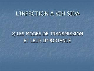 L'INFECTION A VIH SIDA