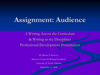 Assignment: Audience