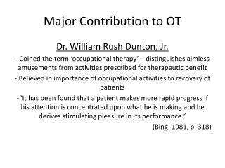 Major Contribution to OT