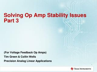 Solving Op Amp Stability  Issues Part 3