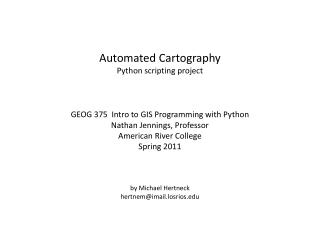 Automated Cartography Python scripting project