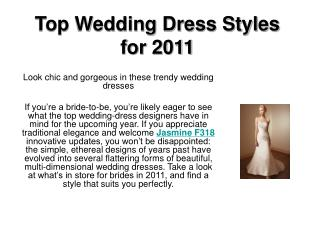 Top Wedding Dress Styles for 2011