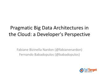 Pragmatic  Big Data Architectures  in the  Cloud : a  Developer's Perspective