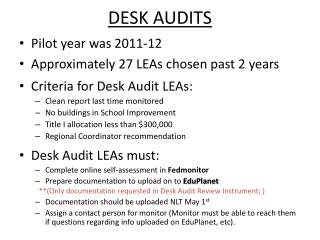 DESK AUDITS