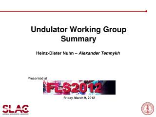 Undulator Working Group Summary