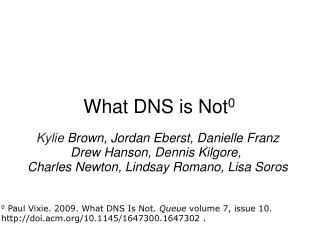 What DNS is Not 0