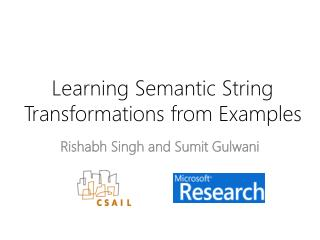 Learning Semantic String Transformations from Examples