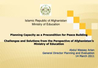 Islamic Republic of Afghanistan Ministry of Education