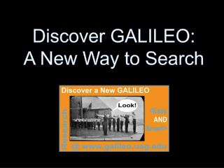 Discover GALILEO: A New Way to Search