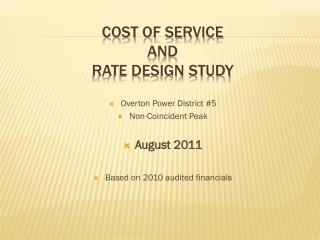 Cost of service and rate design study