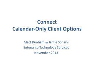 Connect Calendar-Only Client Options