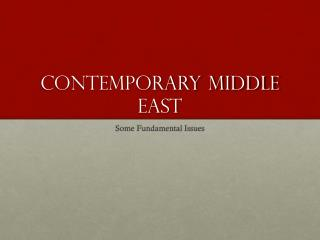 Contemporary Middle East