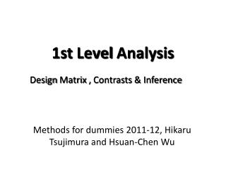 1st  Level Analysis