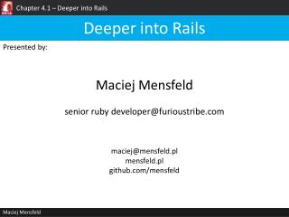 Chapter  4.1 –  Deeper into Rails