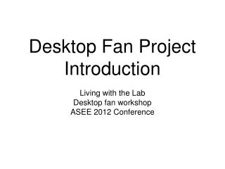 Desktop Fan Project Introduction