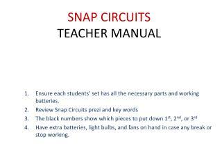 SNAP CIRCUITS TEACHER MANUAL