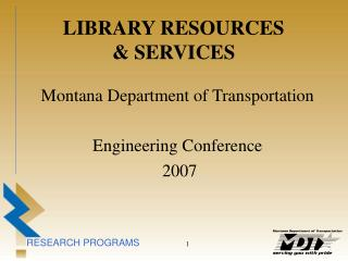 LIBRARY RESOURCES & SERVICES