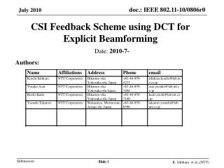 CSI Feedback Scheme using DCT for Explicit  Beamforming